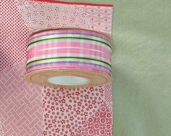 Vintage Rayon Ribbon - Pink Plaid