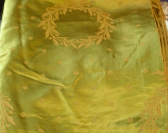 Vintage Silk Satin - Brocade - Turn of the Century - Golden Moss