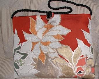 Vintage Obi Silk Floral Brocade Handbag - Clutch - Shoulder Bag