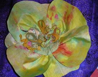 Corsage  - Pin - Magnolia Blossom  - Handmade - Vintage Silk - Hand Dyed