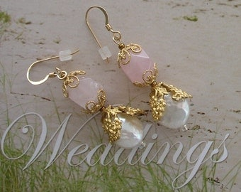 Perfect Pink Earrings - Coin Pearls - Soft Glow