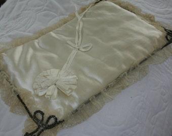 Wedding - Silk Satin - Victorian Wedding Ring Pillow -  Antique White - Lace - Sterling Silver Braid