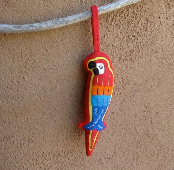 Mola Parrot/Macaw Hanging Ornament - Stellar Hand Stitched Kuna Mola Applique