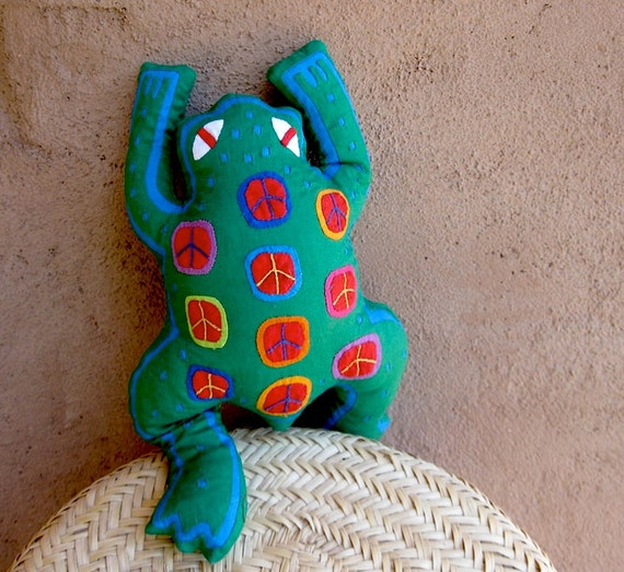 Groovy Mola Peace Frog - SALE - Hand Stitched Kuna Indian Reverse Applique
