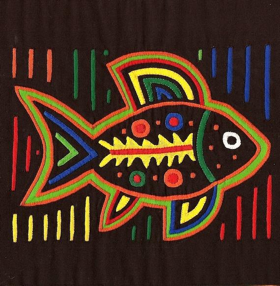 Museum Quality Spirit Fish - Stellar Kuna Indian Reverse Applique MOLA