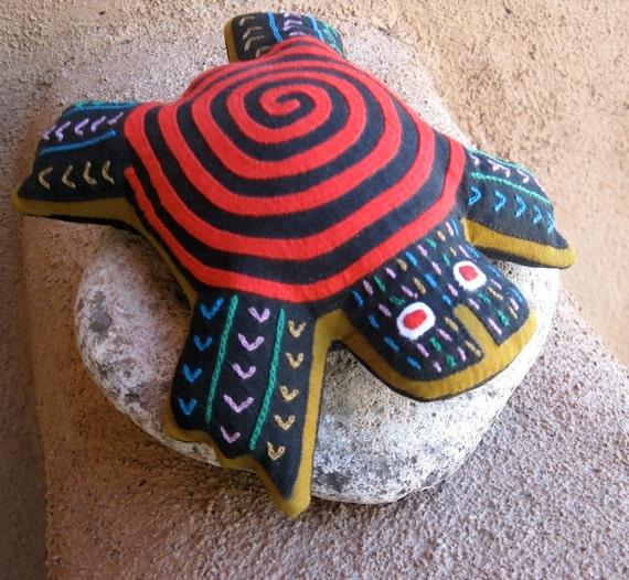 Lavender Filled, Spiral Sea Turtle MOLA 'Dream Spirit' - Red - Kuna Indian Reverse Applique