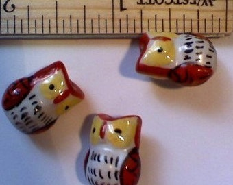 4 Red and White Hand Painted Porcelain Owl Beads