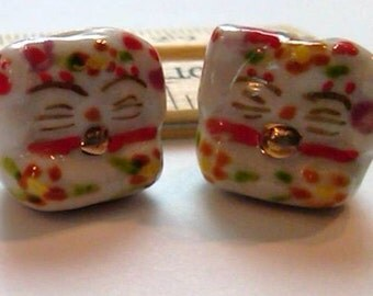 4 Fat Cat Hand Painted Porcelain Beads