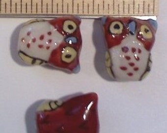 2 Large Rust Brown Hand Painted Porcelain Owl Beads