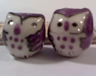 6 Plump Purple Hand Painted Porcelain Owl Beads