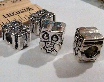 3 silver tibetan owl beads