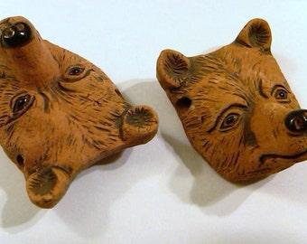 2 ceramic brown bear heads