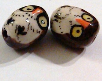 4 Large Brown Oval Hand Painted Porcelain Owl Beads