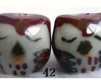 3 sleepy rust porcelain owl beads