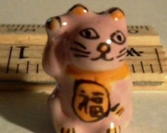 SALE - 10 Pink Hand Painted Porcelain Kitty Beads