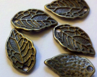 10 small antiqued brass finished ( bronze ) leaf charm