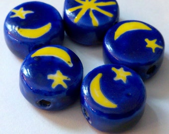 SALE - 10 Blue and Yellow Celestial Hand Painted Porcelain Beads