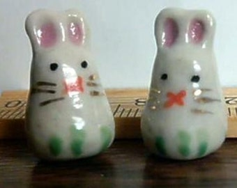 4 White Hand Painted Porcelain Bunny Rabbit Beads