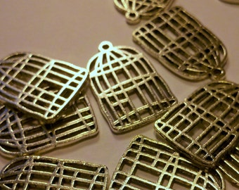 6 silver tone metal birdcage pendant charms 26mm x 17mm x 1.5mm