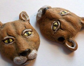2 ceramic brown wild cat catamount head beads