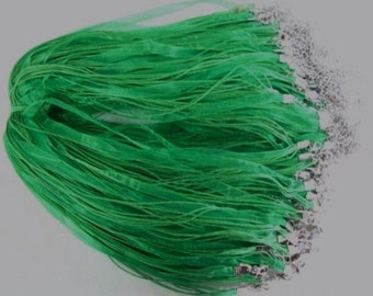 10 grass green necklace cord, ribbons