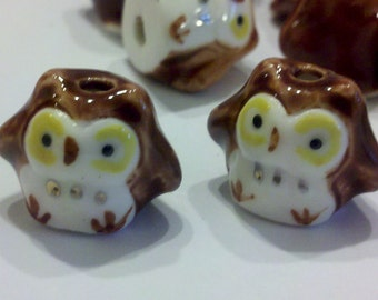 20 Brown Hand Painted Porcelain Owl Beads