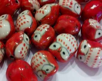2 Red Cutesy Hand Painted Porcelain Owl Beads