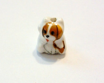 4 White and Brown Porcelain Puppy Beads