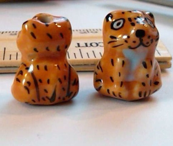 4 cute hand painted porcelain tiger beads