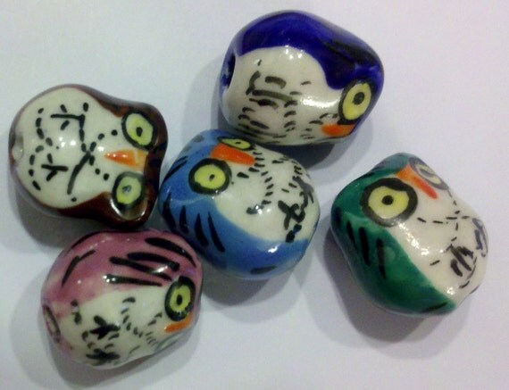 10 5 pairs different detailed hand painted porcelain owls