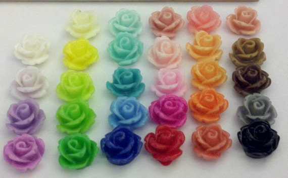 29 Resin Cabochons, Flower, Multicolor, 10mm in diameter, 6.5mm thick
