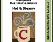 "Steamy Hot 8 x 10"" Primitive Rug Hooking Pattern by Lavender Wool"