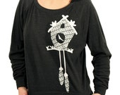 SALE - Womens Tri blend longsleeve pullover with birdhouse cuckoo clock print - Heather Black