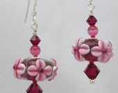 MJ Mauve Fuchsia Lampwork Earrings Sterling Swarovski Pink Pearlized