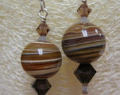 MJ Earthtone Brown Earrings Swarovski Crystal Mocca 2