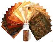 "On Sale 15 Percent Off Hoffman California Watercolor Wrap Browns 40 7"" x 7"" Charm Squares"