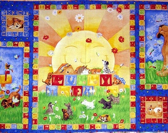 On Sale 25 Percent Off Puppy Dreams Panel Great For Kids Puppy Dog Shelter Quilt Cute Doghouse Sunshine