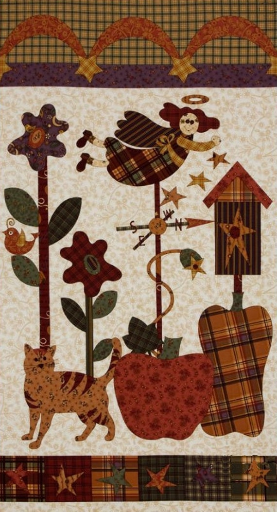 Fabric On Sale, Quiltng, Panel, The Buggy Barn, Pumpkin Pie Panel, Birdhouse, Hearts, Country Style, Flowers, Whimsical, Fall Panel