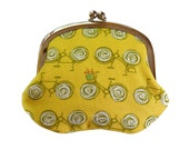 Coin purse with bicycles on chartreuse