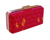 Metro clutch in seahorses on magenta - reserved for Jacklyn