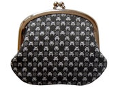 Coin purse in space invader gingham on black