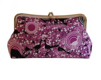 Clutch purse in purple goose bubbles