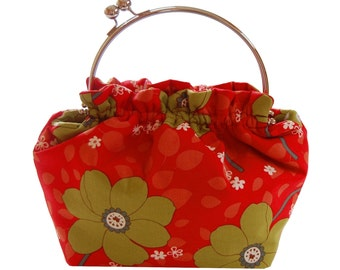 Mod purse with Spring green blossoms on red