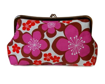 Clutch purse with mod purple flowers on organic cotton