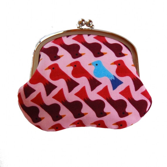 Coin purse with sweet birds on pink