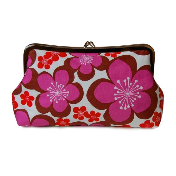 Purple floral clutch, Floral clutch purse, Purple clutch purse, Summer purse, Fabric clutch, Everyday bag, Red floral clutch, Metal Frame