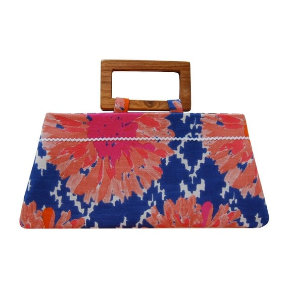 Handbag with summer flowers on ikat blue - Reserved for Shelly