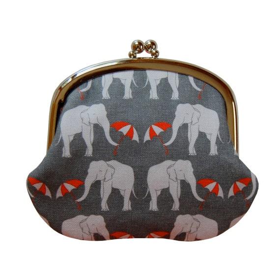 Gray coin purse, Women's coin purse, Gray change purse, Metal frame coin purse, Cute coin purse, Elephant coin purse, Elephant wallet, Coins