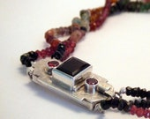 Tourmalines Necklace with Sterling Silver broche