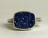 RESERVED-Blue Pink and Purple Peacock Druzy in Sterling Silver Ring